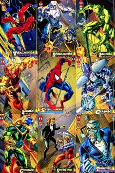 1994 Marvel Fleer Cards love how all of the various cards are part of a larger image! when i was little i had some packs of these cards and was trying to piece them together without a number of the pieces, i thought it was a secret that some of them attached.