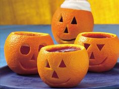 Spicy Cider Jack-o'-Lanterns...see how to make these at BettyCrocker.com...are they cute?