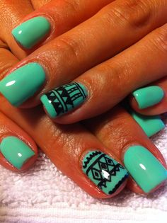 Aztec Nails. Love design, but with nude nails.