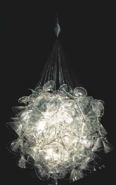 Wine glass chandelier tutorial from condoblues.com