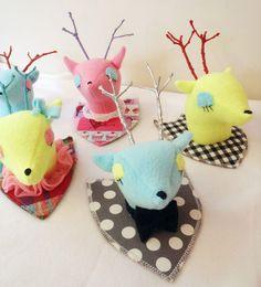 Funny room Decor (custom plush deer mounts)  available in The Burbs Handmade Toys, llc