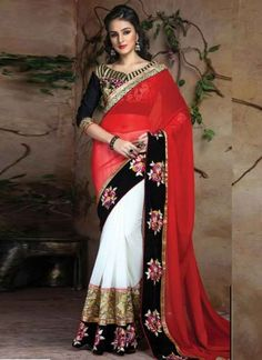 Dazzling Red And White Half And Half Embroidery Thread Work Georgette Party Wear Sarees #Sarees #Designer  http://www.angelnx.com/Sarees
