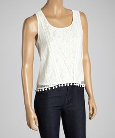 Another great find on #zulily! Dani Collection White Lace Fringe Tank by Dani Collection #zulilyfinds