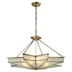 """Featuring star-shaped frosted glass and a solid brushed-brass frame, this elegant 8-light pendant brings a timeless Art Deco flair to your foyer or living room.   Product: PendantConstruction Material: Steel and glassColor: Brushed brassAccommodates: (8) 60 Watt medium base bulbs - not includedDimensions: 23"""" H x 43"""" W"""