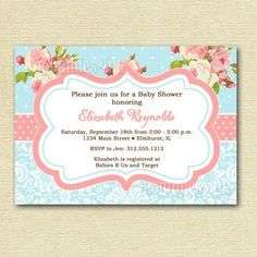 Shabby chic baby shower invitation printable rustic baby girl shabby chic pink roses and light blue polka dots baby shower invite printable invitation design 1250 via etsy filmwisefo