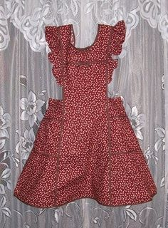 Old-fashioned red apron with trim