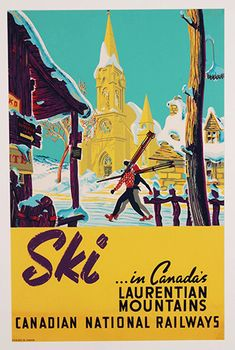 Free Shipping - Ski in Canada's - Laurentian Mountains -  Vintage  Travel Poster