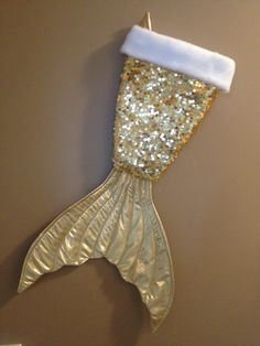 Mermaid tail Christmas stocking -gold sequin-gold shiny tail (25.00 USD) by mermaidbythebay