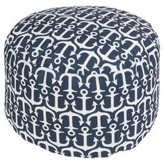 """Showcasing an anchor motif, this charming indoor/outdoor pouf brings coastal-chic style to your poolside or den.   Product: PoufConstruction Material: 100% PolyesterColor: NavyFeatures:  Made in the USASuitable for indoor and outdoor use Dimensions: 20"""" H x 13"""" DiameterCleaning and Care: With a dry cotton towel or white paper towel, blot stains as much as possible. Scrape off any debris."""