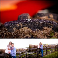 Morgan County Engagement Photography| Ashley + Garrett, farm, sunset, engagement ring, tire, tractor, dirt