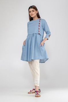 Summer/Spring Collection 2020 - Khaadi has a wide range of Ready to wear, Luxury Pret, Unstitched dresses for women and men Simple Pakistani Dresses, Pakistani Fashion Casual, Pakistani Dress Design, Stylish Dresses For Girls, Stylish Dress Designs, Designs For Dresses, Short Frocks, Girls Frock Design, Frock Fashion