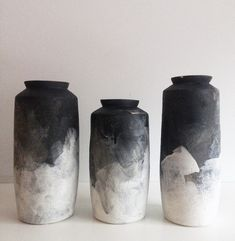 Black & White Ombre Modified Cylinder Vase