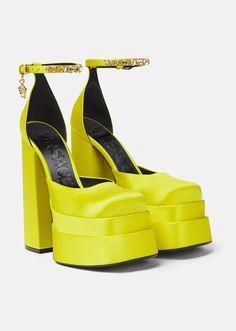 Versace Shoes, Satin Pumps, Platform Pumps, Medusa, Calf Leather, Block Heels, Ankle Strap, High Heels, Boutique