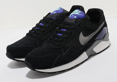 Nike Pegasus Pegasus - find out more on our site. Find the freshest in trainers and clothing online now. Nike Air Pegasus, Mens Fashion Online, Purple Fashion, Men's Fashion, Black Suede, Me Too Shoes, Air Jordans, Black And Grey, Kicks