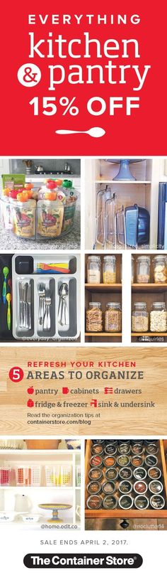 There's no better time to organize your kitchen and pantry than when everything kitchen and pantry is off! But hurry! Sale ends April Nutrition Program, Kids Nutrition, Health And Nutrition, Recipe Organization, Pantry Organization, Organizing, Garage Solutions, Custom Shelving, Food System