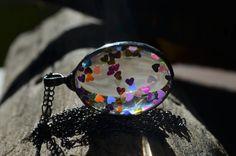 shiny hearts necklace glass necklace colorful by ZokaKurylov