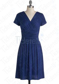 A-line V-neck Knee-length Chiffon Blue Bridesmaid Dresses Short Sleeves