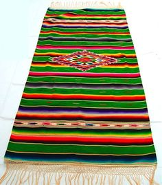 Saltillo Serape Mexican Blanket Green 1930s