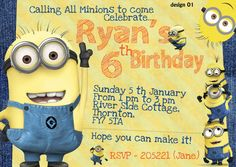 Age of Child years. Personalised Party Invitations, Birthday Party Invitations, Birthday Parties, Minions Despicable Me, Rsvp, Packing, How To Make, Cards, Child