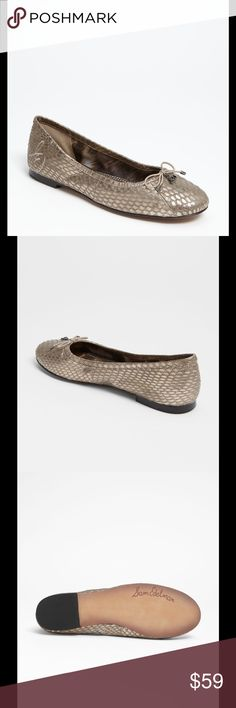 🆕 Sam Edelman Felicia flats zinc snake Classic Sam Edelman metallic snake print flats -- the Felicia flats are the most comfortable shoes I've ever worn! Leather upper, synthetic lower. Zinc color. Brand new with tag in original box. Retail price $110. Sam Edelman Shoes Flats & Loafers