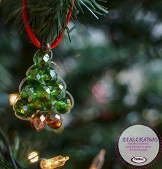 esfera de árbolito para esta navidad, puedes hacerlas tú misma en #pietras tenemos el material #FelizNavidad