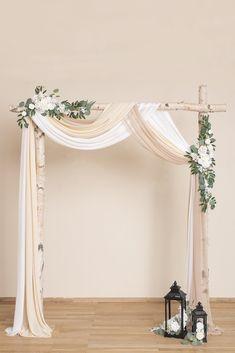 Wedding Arch Drapping Fabric x 6 Yards - Elegant Nude Simple Wedding Arch, Wedding Archway Diy, Wedding Archways, Winter Wedding Arch, Indoor Wedding Arches, Wedding Gazebo, Wedding Draping, Wedding Ceremony Arch, Wedding Canopy