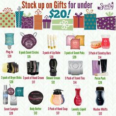 So many gifts under $20!  #Scentsy ScentsbyKris.scentsy.us