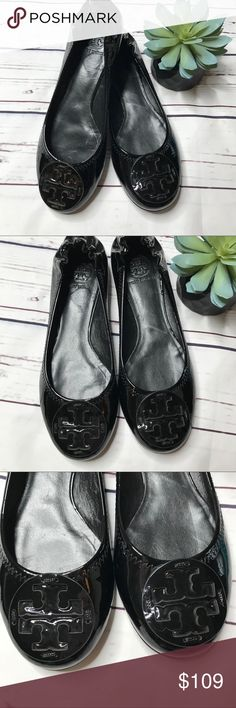 {Tory Burch} sz 9 black patent leather Reva flats Tory Burch black patent leather Reva flats in excellent condition! The only flaw I can find is the tiny scuff on the heel noted in photos otherwise look brand new!   Offers always welcome in my closet! Tory Burch Shoes Flats & Loafers