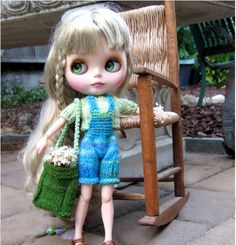 Summer time blythe outfit Turquoise overall by FairyTaleNightmares