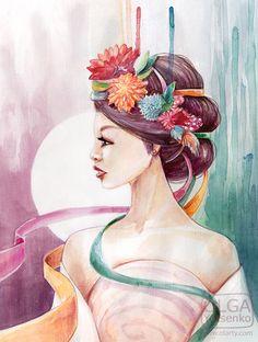 Watercolor  girl in a wreath.  Illustration by Olga Yatsenko. www.olarty.com