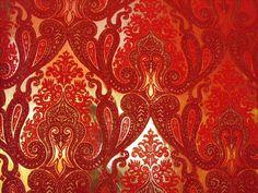 Morrocan Flocked Velvet Wallpaper - Red / Burgundy [WFLO-9655] : Designer Wallcoverings, Specialty Wallpaper for Home or Office