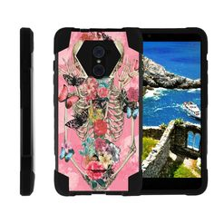 ZTE Imperial Max Case, ZTE Max Duo Case, Grand X Max 2 Case [SHOCK FUSION] Rugged Slim Heavy Duty Impact Hard Kickstand Cover Shell with Design by Miniturtle® - Rose Flower Skeleton