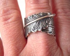 Steampunk Feather Ring Adjustable Ring Sterling by BellaMantra, $25.00