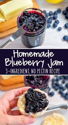 Delicious no-pectin Blueberry Jam Recipe, made with 3 ingredients! It's perfect for slathering on bread, English muffins, scones, and so much more! Blueberry Jelly, Blueberry Desserts, Blueberry Ideas, Blueberry Picking, Jelly Recipes, Fruit Recipes, Dessert Recipes, Dinner Recipes, Canning Recipes