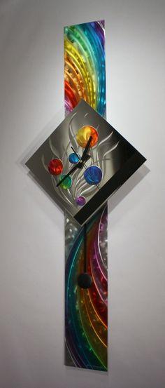Modern Metal Wall Art Pendulum Clock, Abstract Sculpture Decor, Abstract Painting Clock on Metal, Original Art, Design by Alex Kovacs - AK444♥♥LOVE!