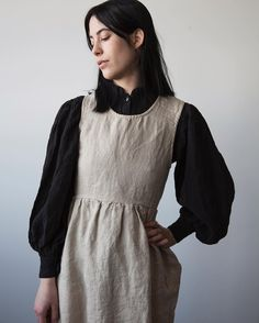 Apron dress pinafore / Black sleeves / Contrast