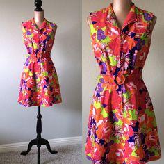 Vintage Mod Dress Floral Retro Dress 1960s by JacobandCharlies