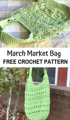 Free crochet pattern for the March Market Bag—an easy crochet bag pattern for women! Source by desertblossomcrafts bag pattern Crochet Market Bag, Crochet Tote, Crochet Handbags, Crochet Purses, Crochet Gifts, Crochet Hooks, Free Crochet, Knit Crochet, Crochet Simple