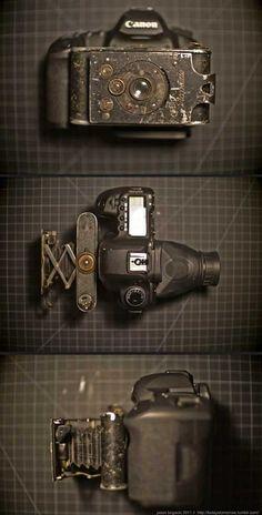 1919 Piccolette Contessa-Nettel folding camera hacked onto a Canon 5D MII