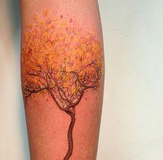 By Daniel Matsumoto   Brazilian Tattoo Artist (Brasilia)   (Tree, Autumn)