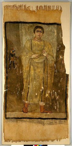 Painted linen shroud of a woman in a fringed tunic: Roman Egypt, late 2nd AD @metmuseum