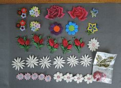 Lot of 36 Floral Appliques, Vintage Novelty Embroidered 1970s patches by…