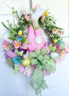 Easter Bunny Wreath, Bunny Butt Wreath, Bunny Bottom Wreath, Easter Grapevine Wreath, Spring Wreath #ad #holiday #doordecor