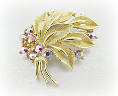 Vintage Gold Leaf Brooch Pin, Designer LISNER Brooch, Red Aurora Borealis Rhinestones Brooch, 1960s Mad Men Costume Jewelry by RedGarnetVintage, $20.00