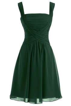Sunvary Sweety Straps Short Bridesmaid Dresses Chiffon Homecoming Gowns for Cockatil Party Prom Gowns US Size 2- Dark Green