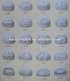 100% Cotton High Quality Hand Knitted Crochet Muslim Prayer Caps, Islamic Prayer Caps
