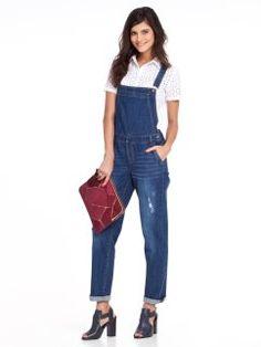 Mono vaquero desgastado de mujer 3 SUISSES Jeans Store, Overalls, Denim, Pants, Fashion, Vestidos, Distressed Jeans, Denim Jumpsuit, Texans