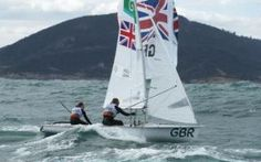 Hannah Mills (helm) and Saskia Clark compete in the Women's 470