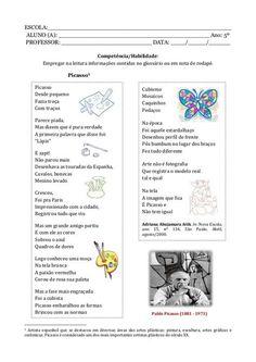 Caderno de atividade - 5º ano - Programa Primeiros Saberes da Infância Notebook, Bullet Journal, School, 1, Pablo Picasso, Portuguese, Comprehension Activities, Learning Activities, Letter Activities