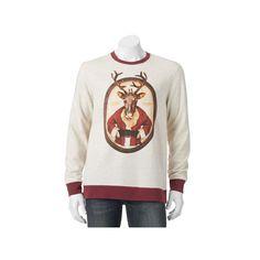 Men's Reindeer Santa Christmas Sweatshirt, Size: Medium, Med Grey